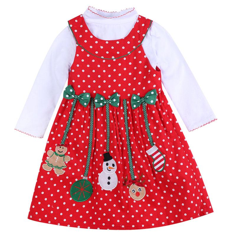 Girls Christmas Clothing Sets New Year Clothes Kids Long Sleeve Christmas Man Dot Dress Children's Two-piece Clothing for Autumn Winter 1-7T