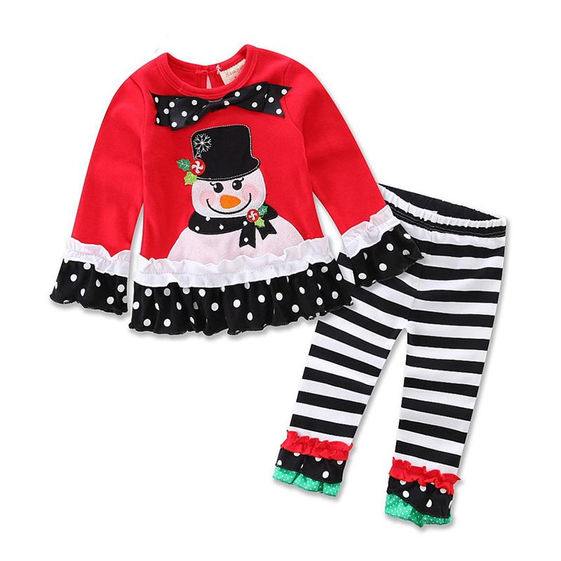 Style D Black Girls Christmas Clothing Sets New Year Clothes Kids Long Sleeve Christmas