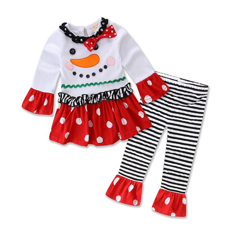 White and Black Style E Girls Christmas Clothing Sets New Year Clothes Kids Long Sleeve Christmas
