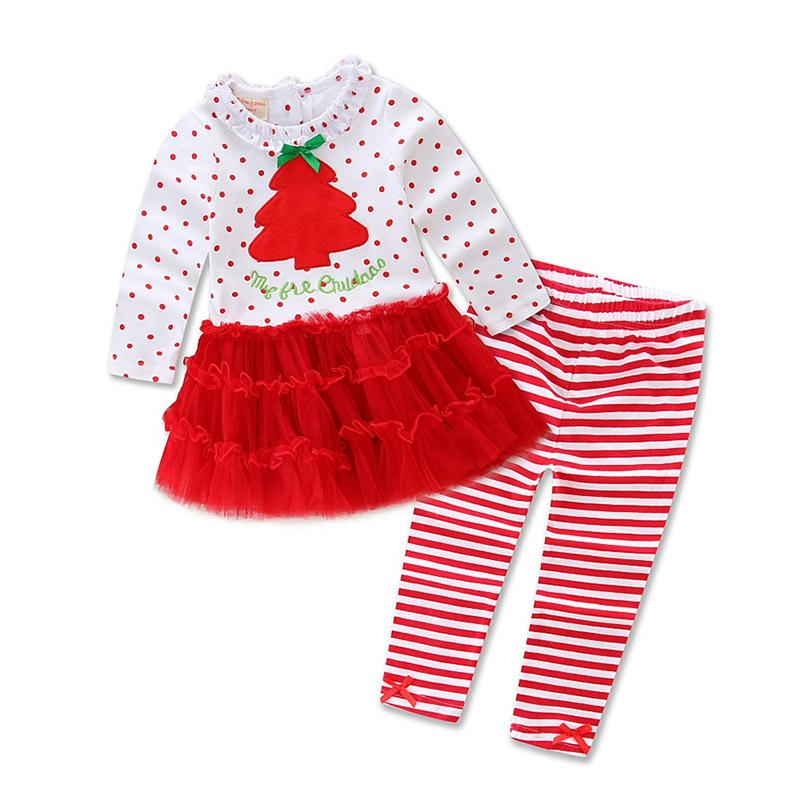 White and Red Style F Girls Christmas Clothing Sets New Year Clo