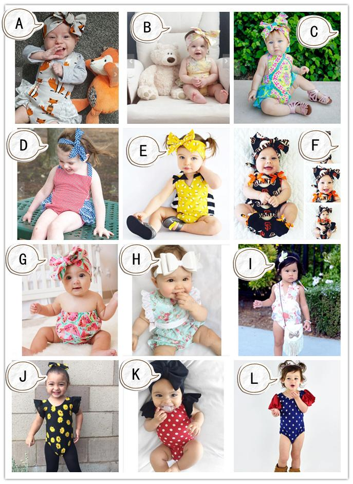12 Designs Baby Rompers Headbands Fox Honey Bee Watermelon Flora Dots Striped Star Printed Lace Triangle Jumpsuit Infant Girls Outfit 6-24M