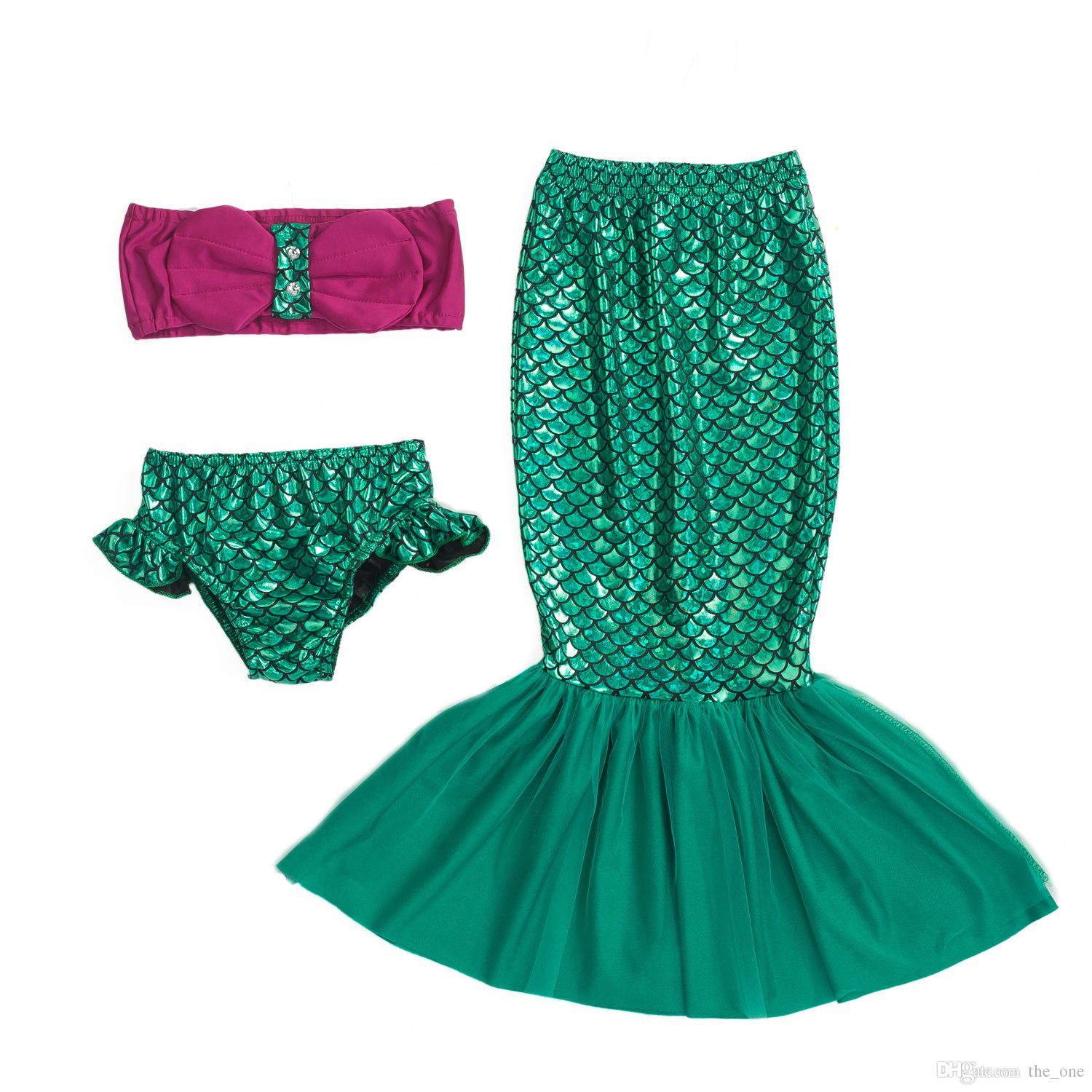 Lovely Child Bikini Swimming Suit Swimmable Mermaid Tails Costumes For Girls Halloween Fancy Princess Cosplay Dresses