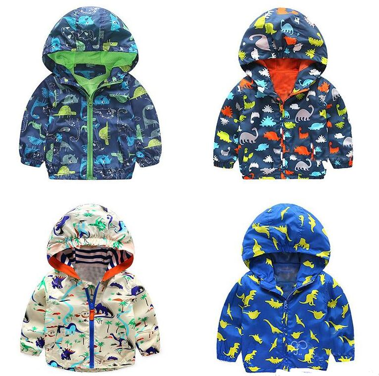 Autumn Kids Dinosaur Windbreaker Cute Animal Printed Jacket Boys Outerwear Coats Boys Kids Hooded Children Outfits 2-5T