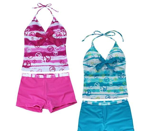 Hot sale kids girls 7-16T peace signs heart print halter two pieces tankini swimwear