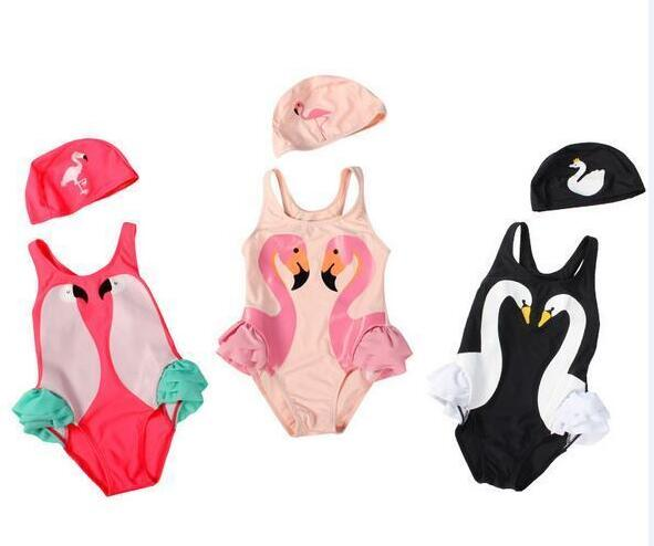2018 New Swan Flamingo Parrot Baby Girl Baby Bikini Swimsuit Swimming Cap Two-Pieces