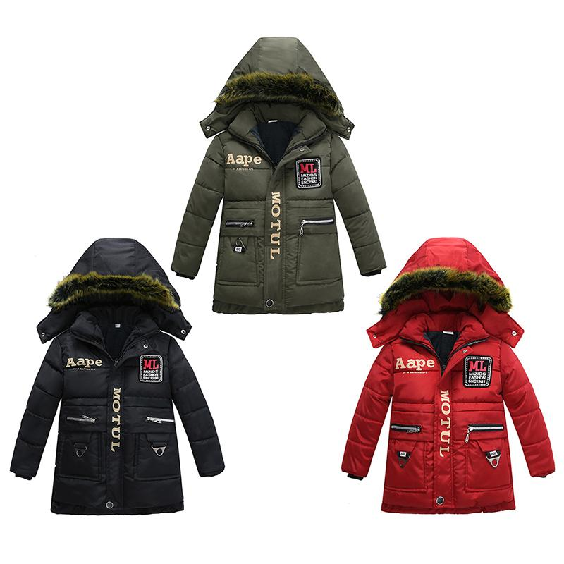 Baby Boy Thickening Snowsuit Fur Collar Hooded Cotton Padded Jacket Letter Printed Buttons Zipper Pocket Parka Winter Clothes Windbreaker