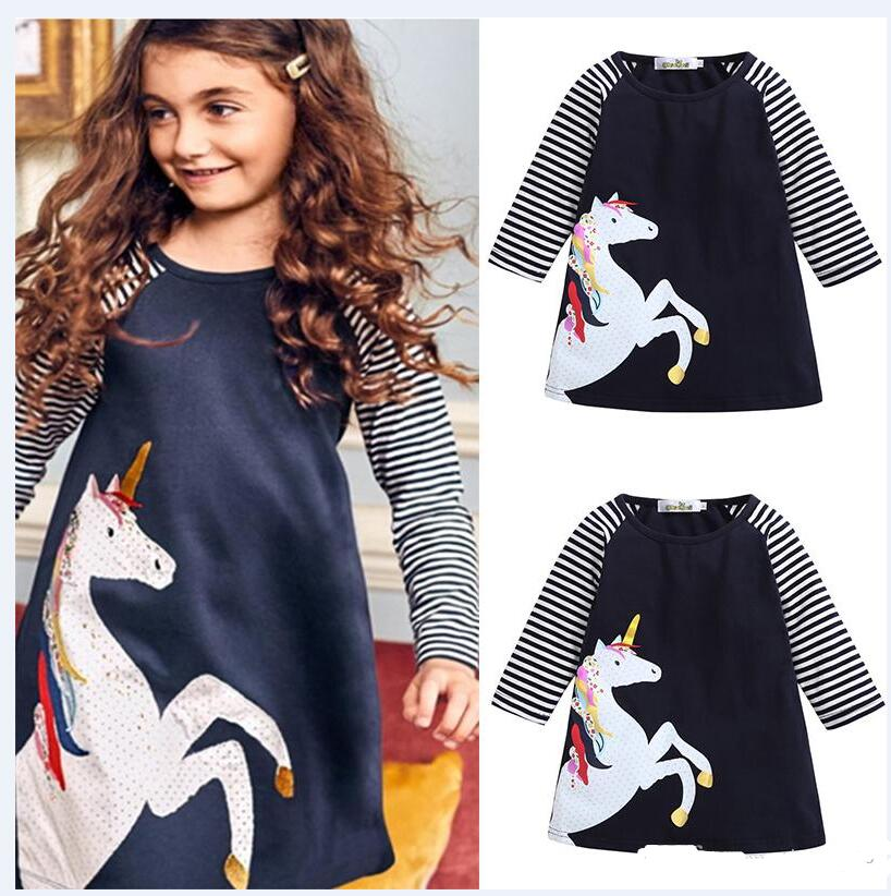 Baby Girls A-line Dresses Navy White Striped Patchwork Colorful Horse Unicorn Dots Printed Long Sleeve Spring Autumn Girl Designer Clothes