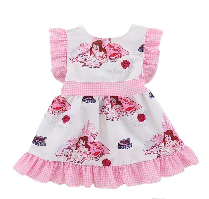 Baby Girls Cartoon Dress Princess Cartoon Design Cotton Fabric Summer Dress for Baby Girls Outfits 1-4T