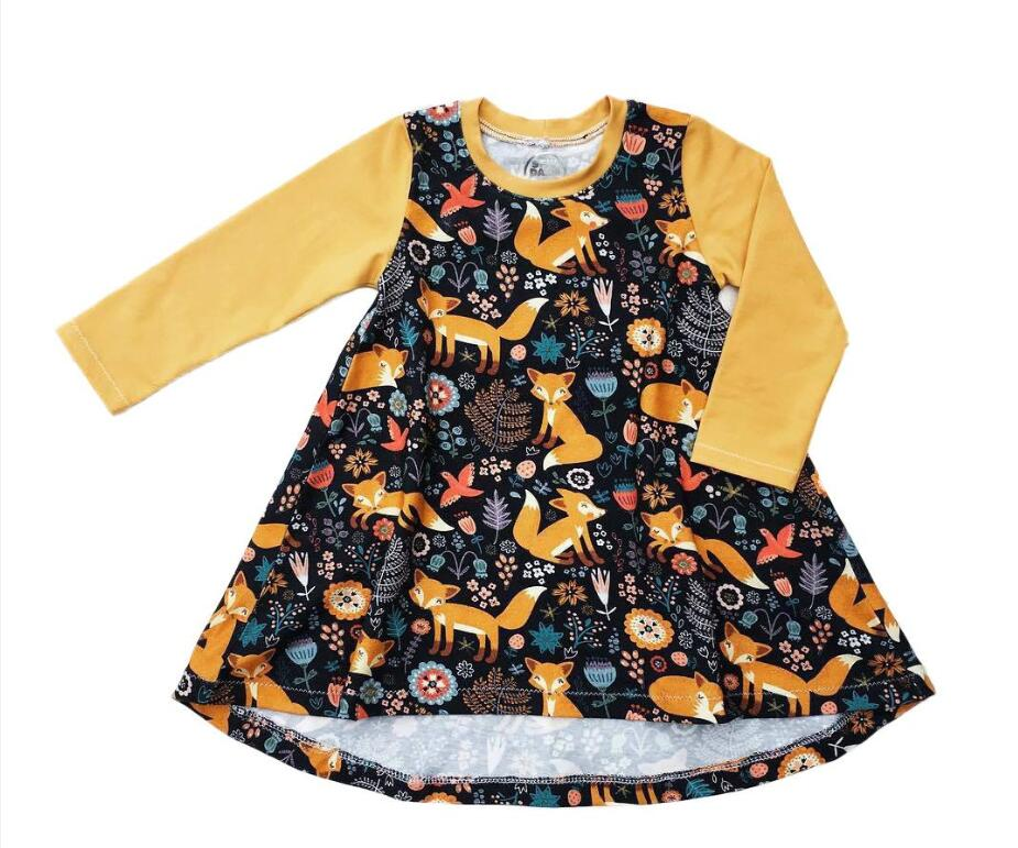 Baby Girls Dress Little Foxes Birds Cartoon Flora Printed Full Slevee Yellow Spring Fall Toddler Skirts Outfits 1-6T