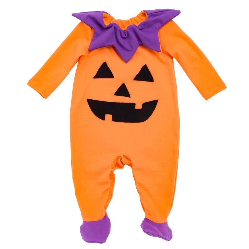 Baby Halloween Pumpkin Rompers Winter Autumn Baby Boy Girls Jumpsuit Ghost Halloween Outfits Long Sleeve Cotton 0-24M