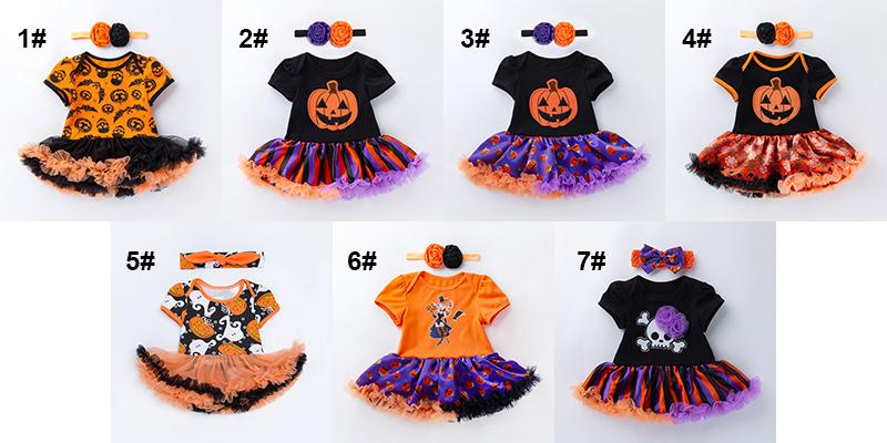 Baby Halloween Romper+Dress Girls Halloween TUTU Skirt with Hair