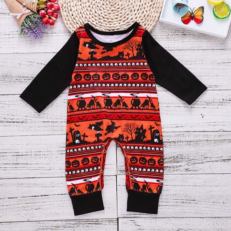 Baby Halloween Rompers Pumpkin Witch Printed Halloween Jumpsuit Long Sleeve Boys Girls Autumn Winter Baby One-piece Garment 3-18M