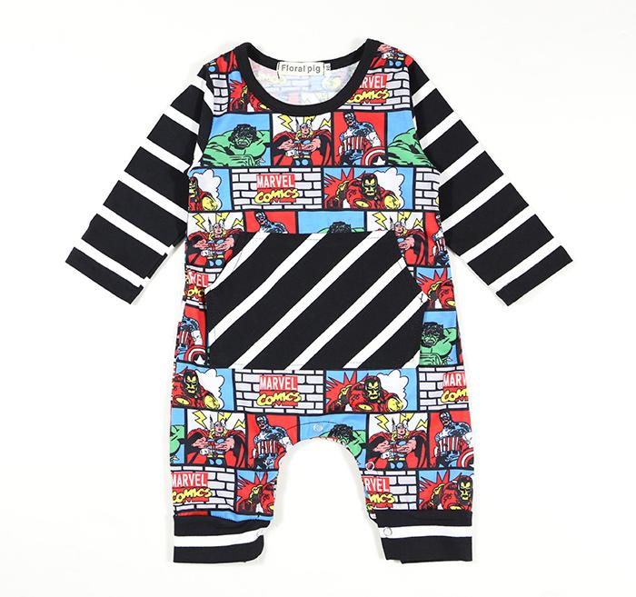 Baby Jumpsuits Super Hero Cartoon Printed Striped Long & Short Sleeve Baby Boys Girls Clothing Cotton Blending 0-18M