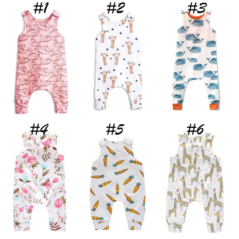 Baby Print Rompers Button 30 Design Boys Girls Unicorn Raccoon Sushi Swan Carrot Balloon Giraffe Feather Fox Watermelon Infant Jumpsuit 0-3T