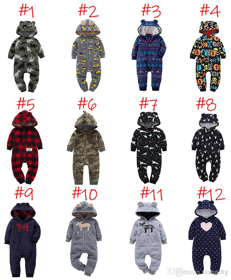 Baby Winter Hooded Rompers Newborn Boy Girl Designer Clothes Jumpsuits Dinosaur Plaid Camouflage Dots Striped Halloween Christmas 3-24M