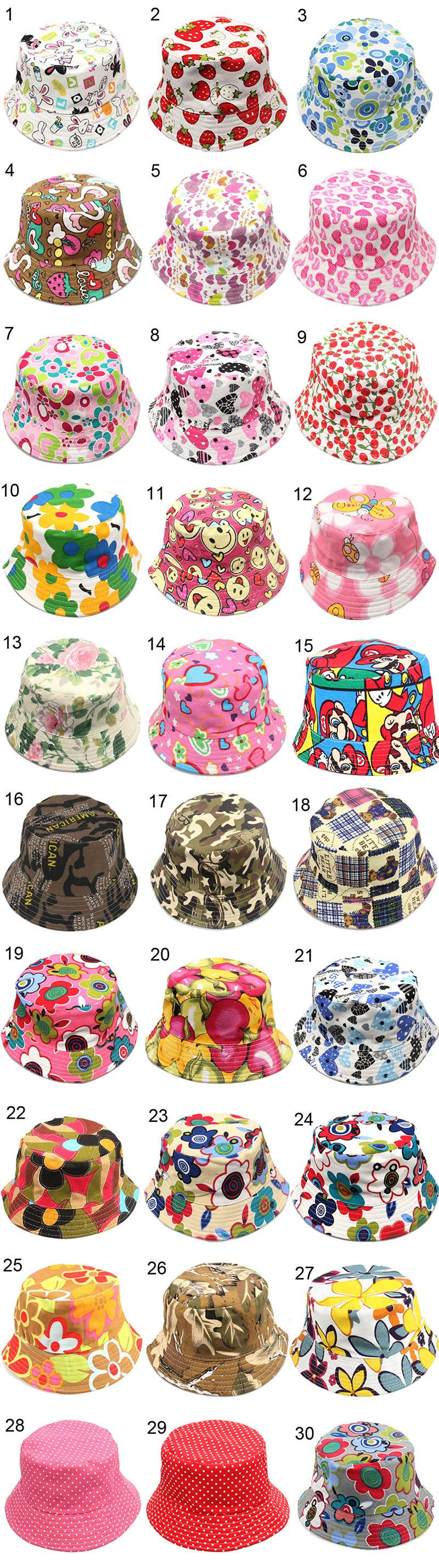 Children Bucket Hat 30 Colors Casual Flowers Printed Basin Canvas Topee Kids Hats Baby Beanie Caps 2-5T