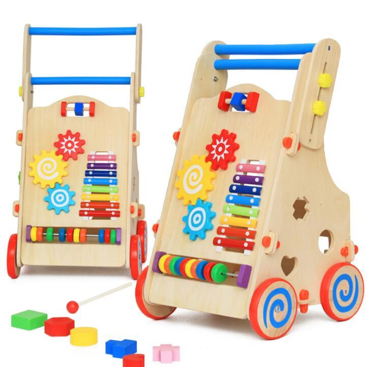 Deluxe Baby Walker Learning Activity Center -Walk Trolley, Shape Sorter, Counting, Xylophone & Gears Baby Toddler Push-n-Play Wooden Toys