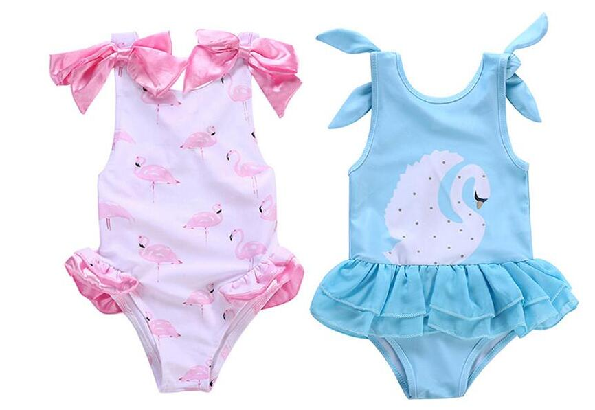 Flamingo Swimsuit Swan Swimwear for 1-5T Girls One-piece Swimming Clothes Printed Design Bow Kids Piece Swimsuit