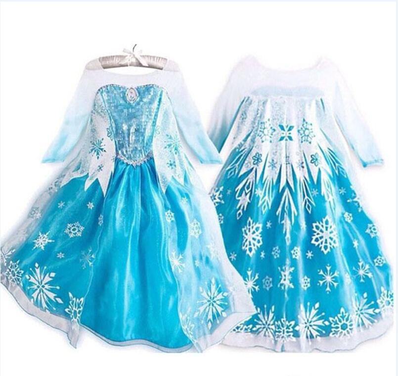 Frozen Dress Girls Halloween Costumes for Kids Snow Queen Cosplay Princess Fantasia Vestido Infantils Halloween Long Sleeve