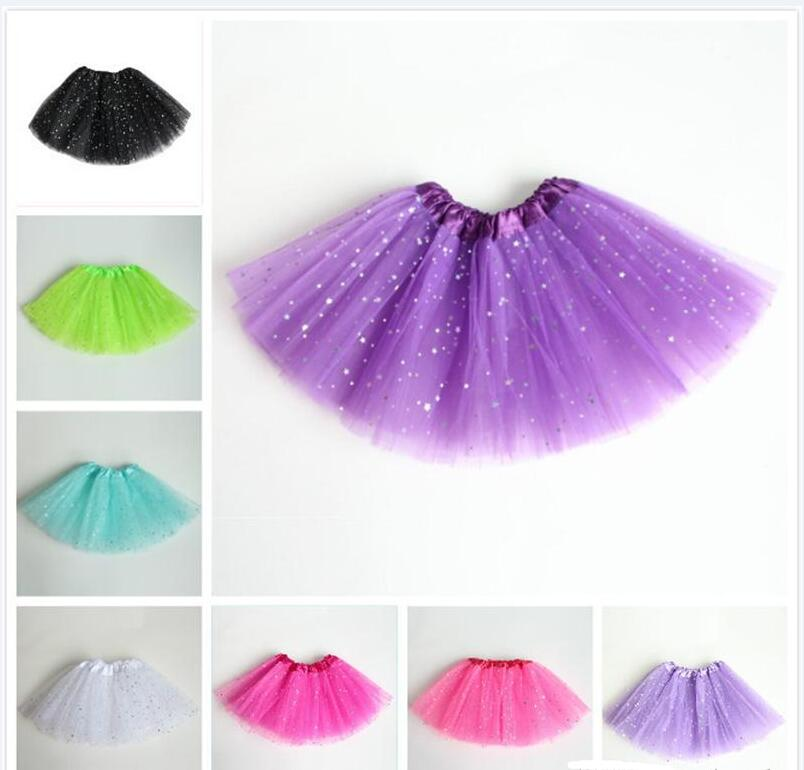 Girls Ballet Skirt Stars 11 Colors TUTU Skirt Bubble Skirt Grenadine Short Dress Perform Dancing Dress 3-8T