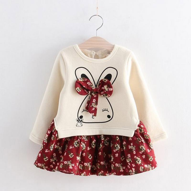 Girls Cute Rabbit Dresses Winter Autumn Baby Girl Princess Dress Flowers Printed Girls Long Sleeve Dress