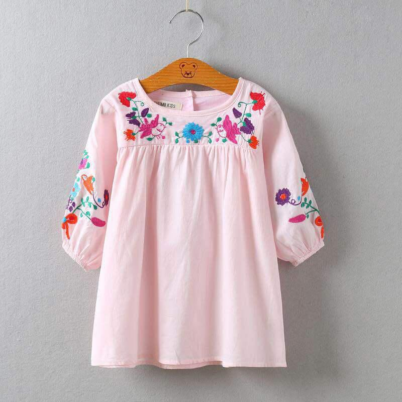 Girls Embroidered Skirt Half Sleeve Round-neck Princess Dress Autumn Spring Summer Baby Girls Floral Dress 2-8T