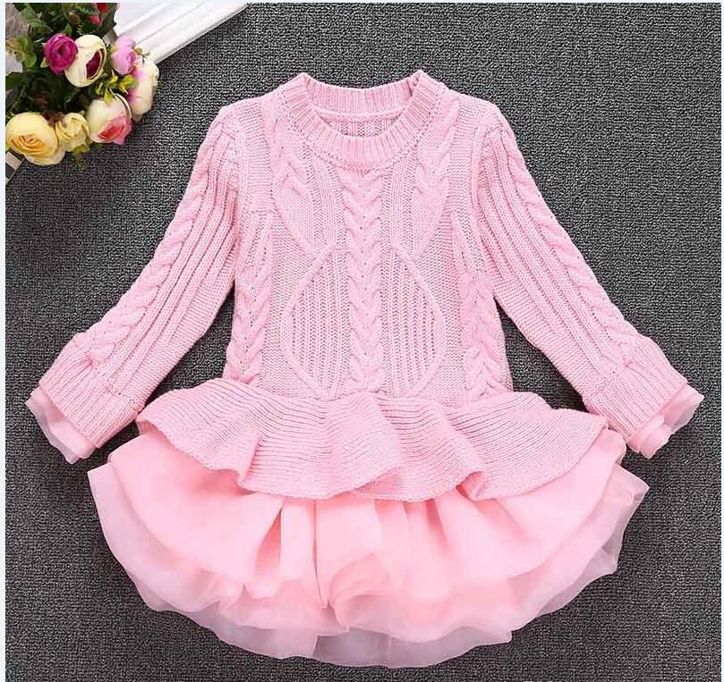 Girls Knitted Sweater Dresses Toddler Girls Dresses Princess Pullovers Sweaters Princess Dress With Lace Shrugs For Autumn Winter 2-9T