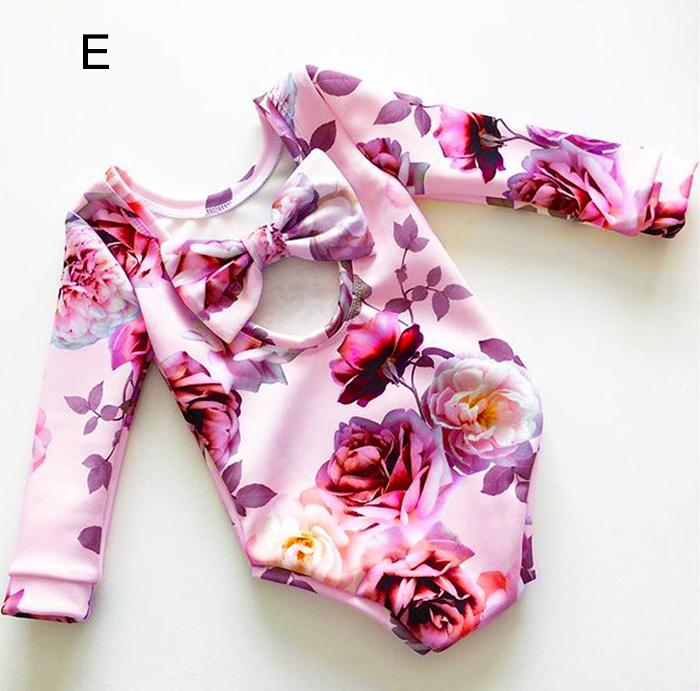 Girls Printed Rompers Hollowed Bow Floral Print Long Sleeve Newborn Jumpsuits Summer Spring Autumn Triangle Outfit 3-18M