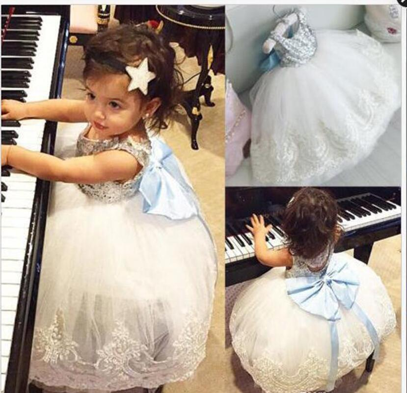 Girls Sequins Bubble Skirt Blue Bow Baby Girls Princess Dresses Lace Summer Dresses Sleeveless Cotton Vest Skirt 1-5T