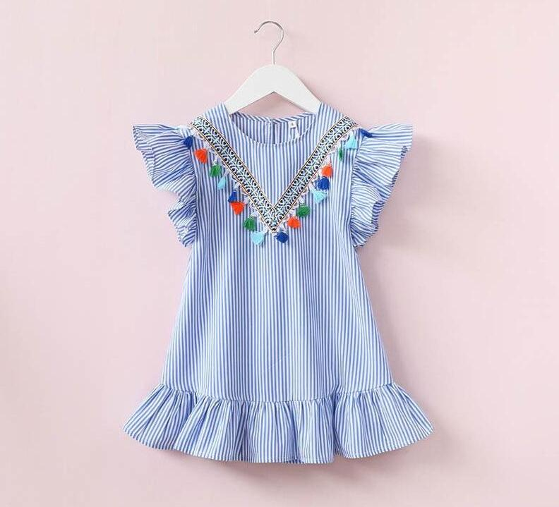 Girls Striped Dress with Tassels Lotus Leaf Sleeve Round Neck V Design Baby Girls Skirt Outfit 3-7T