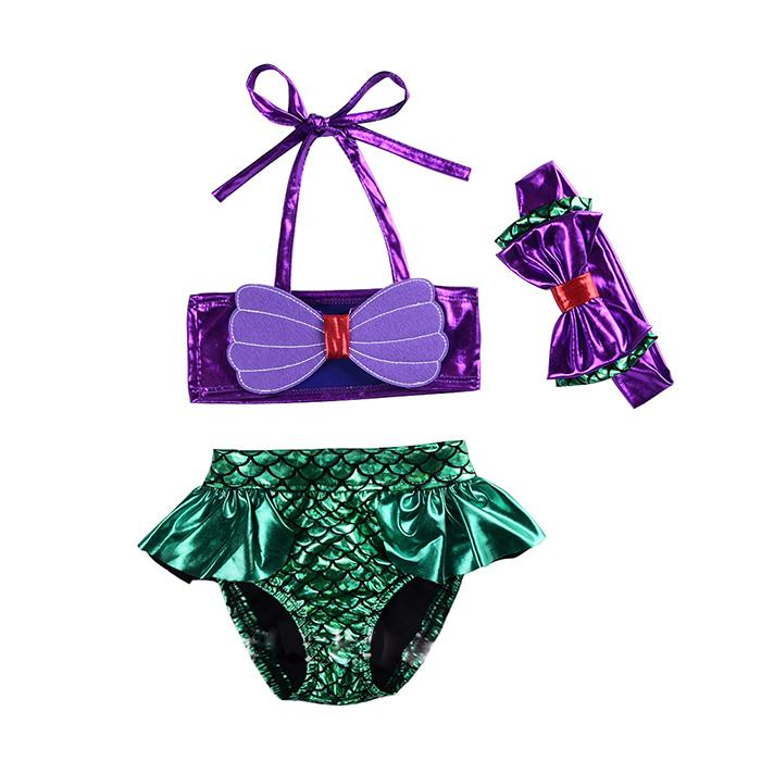 Girls Swimsuit Three-pieces Mermaid Tails Bikini Bowknot Fish Scale One-piece Two-piece Suit + Hairband Bikini Dress Children Costume LG-3