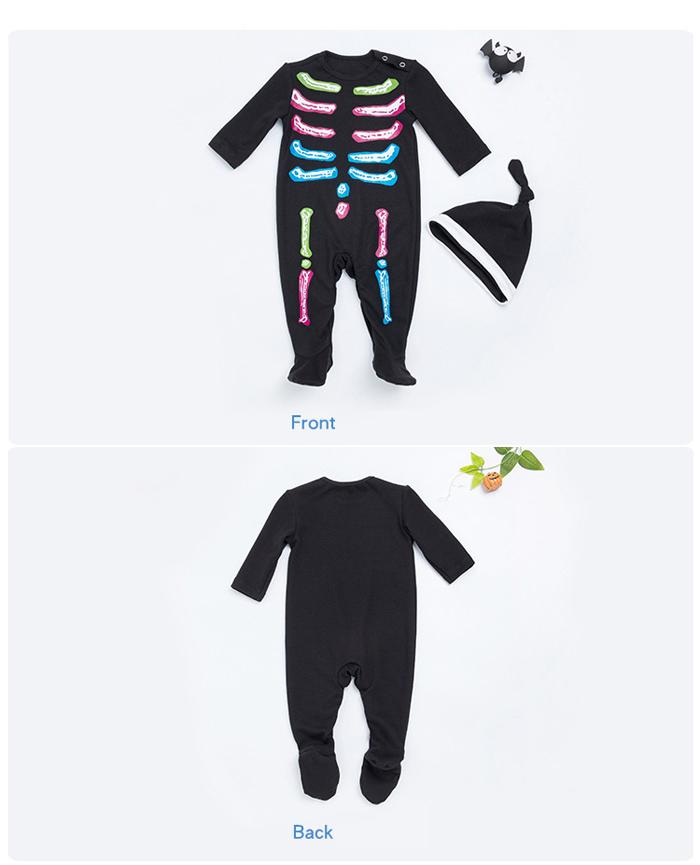 Halloween Baby Rompers Footies Jumpsuits Black Long Sleeve Human skeleton Born Cotton Boys Girls Tutu Dress Infant Kids Clothing