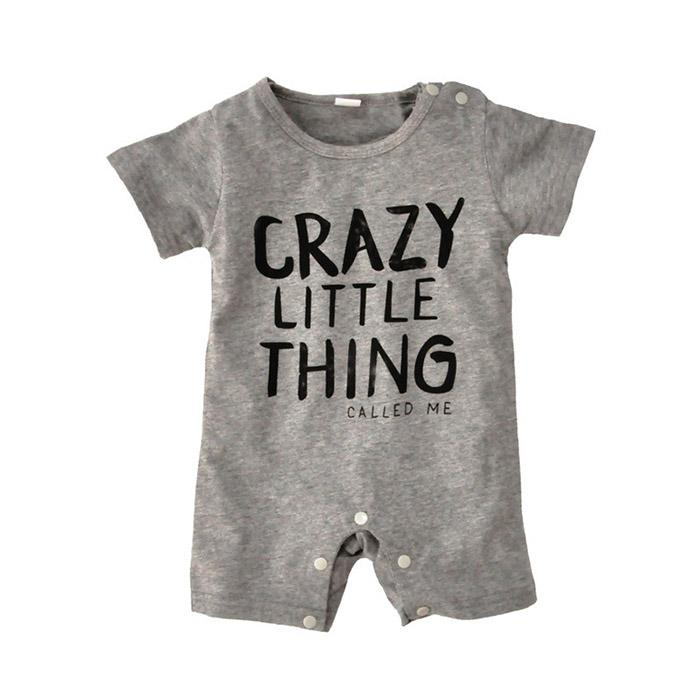 Ins Baby Jumpsuit One-piece Romper Pure Cotton Summer Autumn Crazy Little Thing Letters Infant Rompers Newborn Clothes LG83