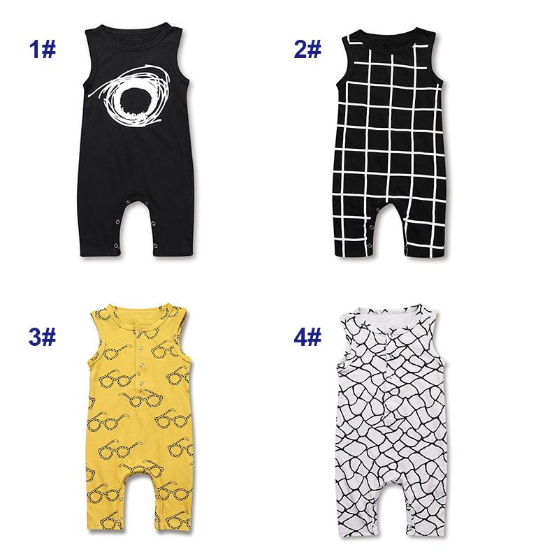 Ins Baby Summer Jumpsuits 4 Designs Plaid Glasses Eyes Printing Boys Rompers Cotton Sleeveless One-piece Onetie Outfits