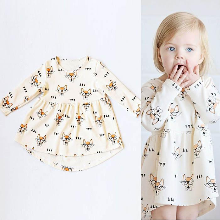 Ins Girls Fox Glasses Dresses Bow Tie Printed Long Sleeve Knee-Length A-Line Cotton Infant Toddler Baby Casual Fashion Princess Cloth 6M-4T
