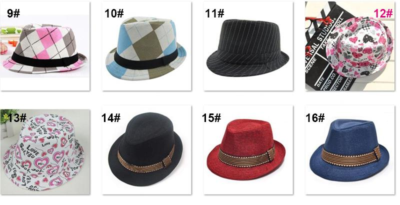 Kids Jazz Caps Fedora Trilby Hat 21 designs Fashion Unisex Casual Hats Baby Boy Girls Children's Caps Kids Accessories Hats