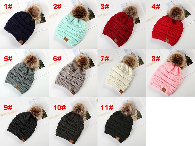 Knitted Wool Caps with Ball Tops for Mom and Girls Winter Casual Hats Caps  Multi- 82c3ec51f9c3