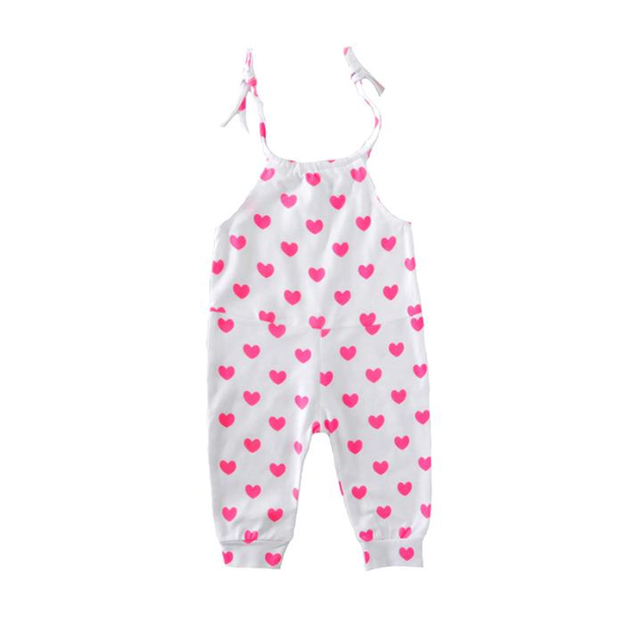 New Girls Vest Romper Pink Hearts Jumpsuit Round Neck Fashion Baby Suspenders Rompers Lace-up Summer 0-24M