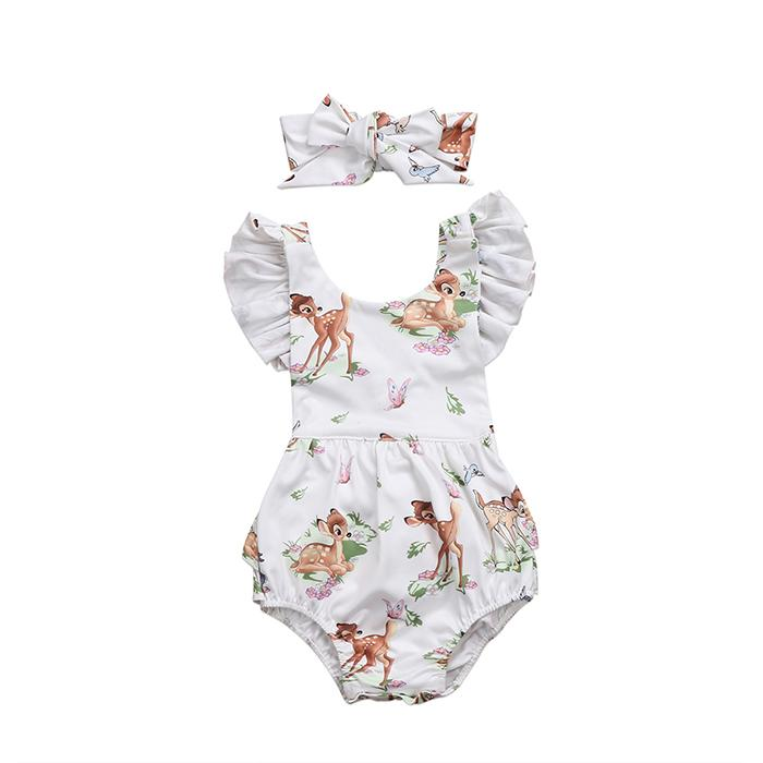 f6bbf1155df New Romper Deers Headband Lovely Cartoon Printed Jumpsuit Infant Baby Girls  Ruffle Sleeve Hairband Outfit 0