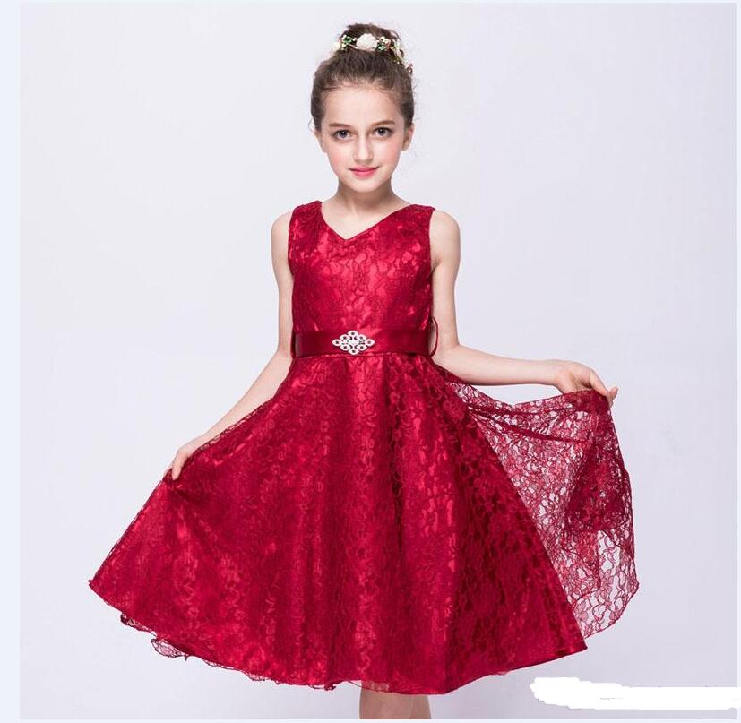 New Sleeveless Girls Dresses Lace Thick Satin Sash Ball Gown Birthday Party Christmas Princess Dresses Flower
