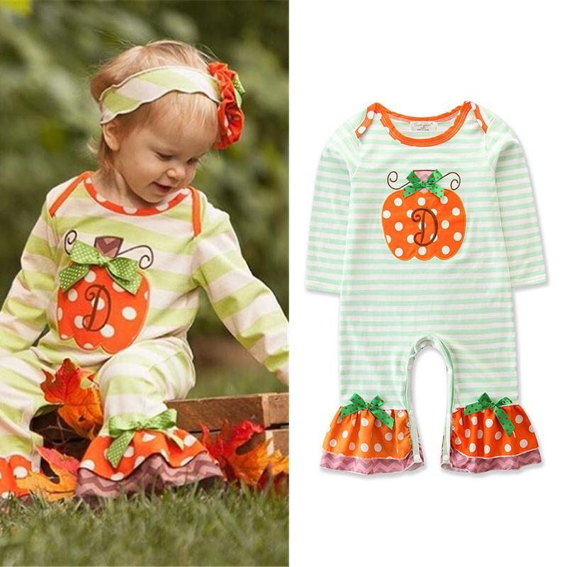 Newborn Baby Halloween Jumpsuit Pumpkin D Letter Embroider Applique Bow Ruffle Frill Santa Claus Christmas Lace Striped Dots Romper 0-24M