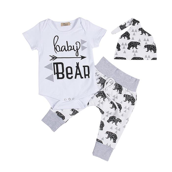 Newborn Clothing Sets Girls Boy Baby Bear Rompers Jumpsuits Pants Hat 3pcs Baby Coming Home Outfits Set