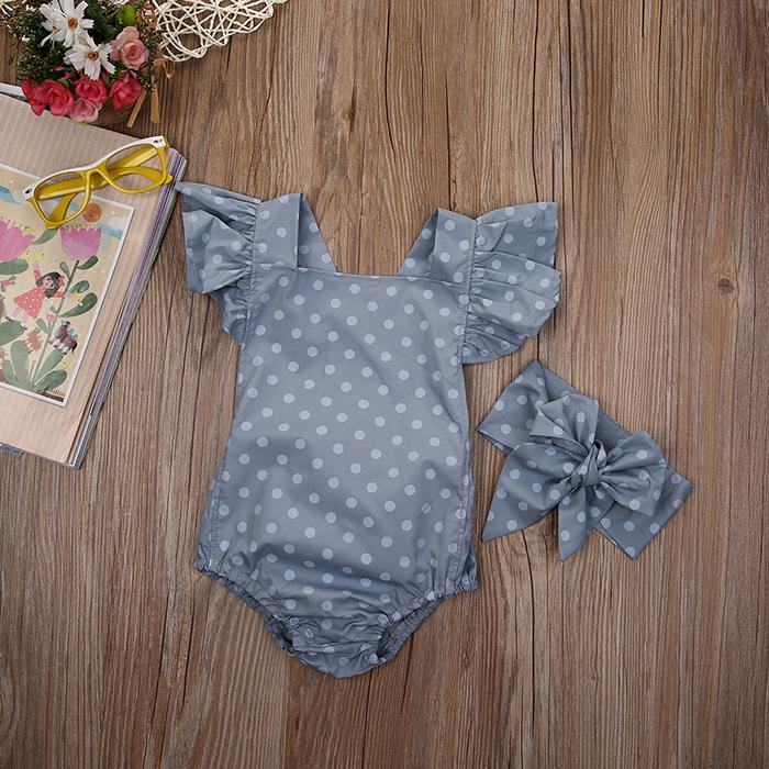 Newborn Girl Romper+Headband with Polka Dots Baby Girls Clothes Baby Jumpsuit Sunsuit Summer Baby Clothing 0-18M