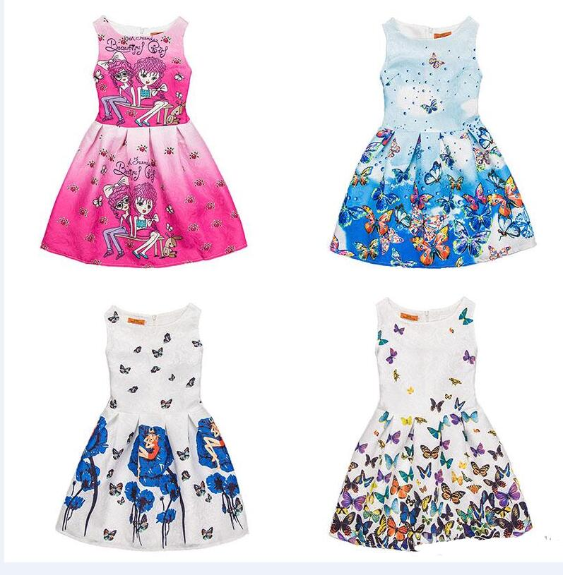 One-piece Flower Girl Dresses Sleeveless Rose Blue Print Kids Dresses Party Princess Dress Bobble Skirt for Girls