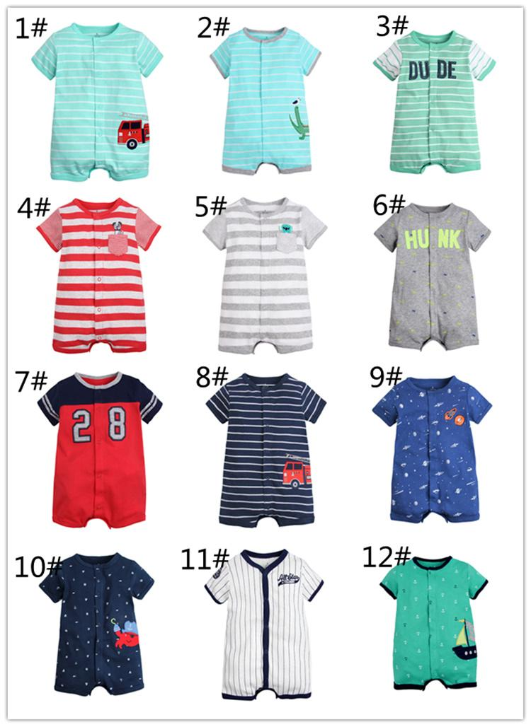 Short Sleeve Boys Rompers Baby Girls Unisex Infant Toddler Jumpsuit Clothing Striped Dot Animal Car Boat Crab Baseball MIB