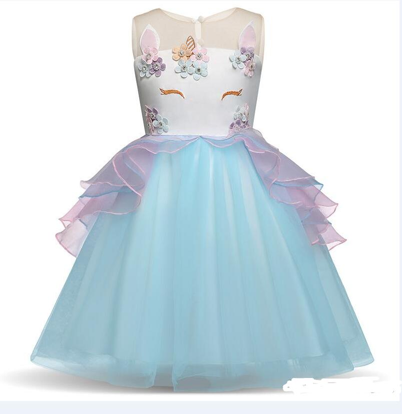84b1b157890 Toddler Girls Unicorn Dress 4 Colors Sleeveless Embroidered 3D Unicorn Princess  Dresses Wedding Dress Summer Performance Skirt 3-7T