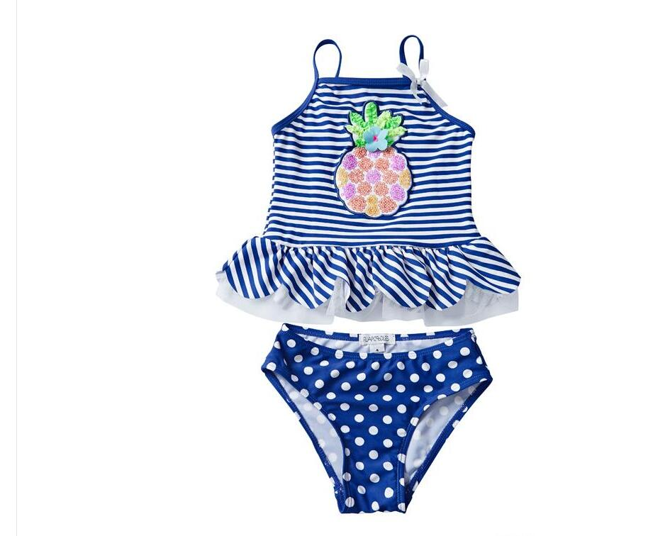 UPF 50 UV Swimwear Sequins Pineapple Embroidery Falbala Striped Dots Printed Vest Ensembles 2 pièces Costumi da Bagno Toddler Girls Clothing