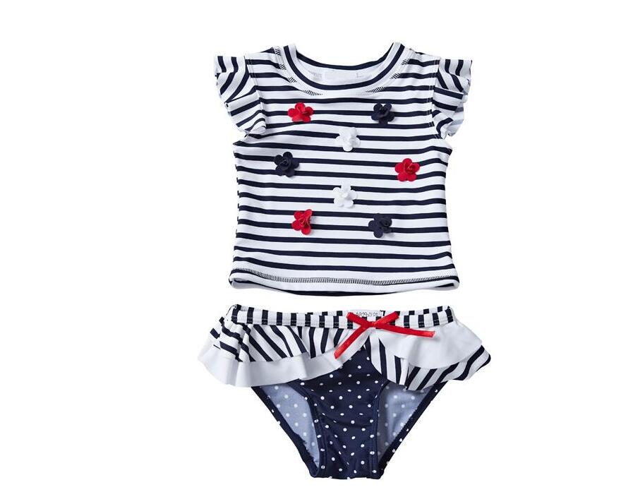 UPF 50+ Baby Girls Swimwear Costumi da Bagno Ensembles 2 pièces 3D Flower Striped Falbala Sleeveless Round Neck Kids Bathing Suits 12M-8T