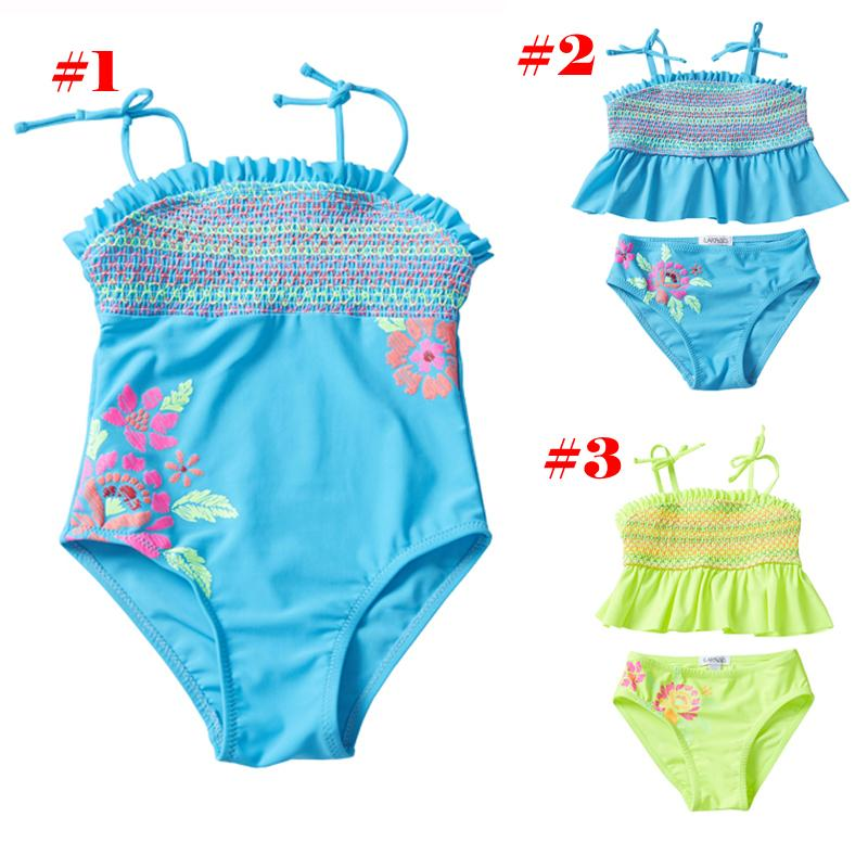UPF 50+ Toddler Kids Swimsuit Ensembles 2 pièces Bikini Striped Embroidery Elastic 3D Emboss Flora Printed Little Fold Lace Costumi da Bagno