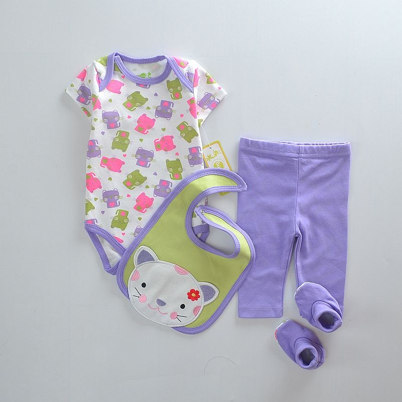 Wholesale- Baby Girls Suits Baby Gear 4pcs sets Children's Trousers Bibs Sock Rompers HOT SALE